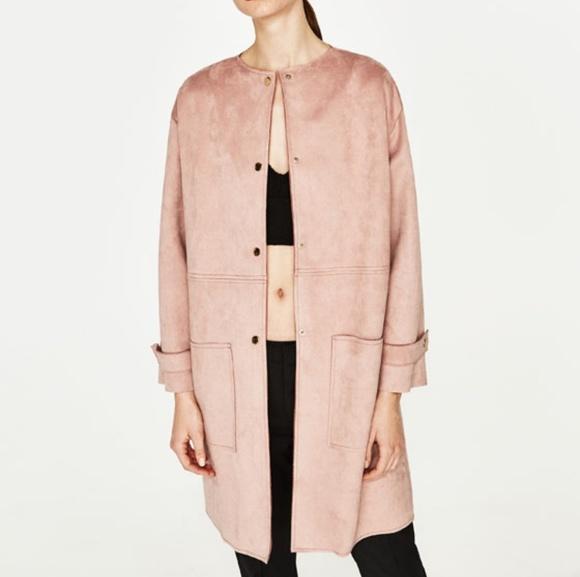 f0e4a375416 ZARA Basic Outerwear faux suede dusty pink coat